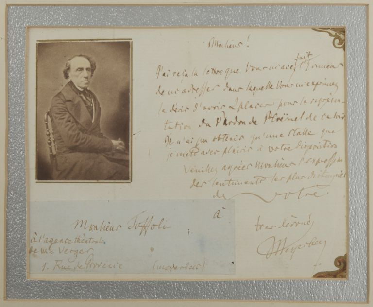 "Autograph letter signed ""Meyerbeer"" to the theatrical agent Toffoli, ""à l'agente théatrale de Mr. Verger"" in Paris. Giacomo MEYERBEER."