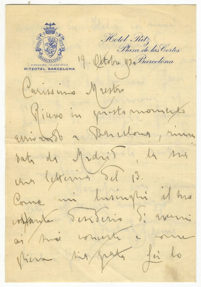 "Autograph letter signed, addressed ""Carissimo Maestro,"" most likely the distinguished conductor Arturo Toscanini, principal conductor at La Scala from 1921-1929. Conchita SUPERVIA."