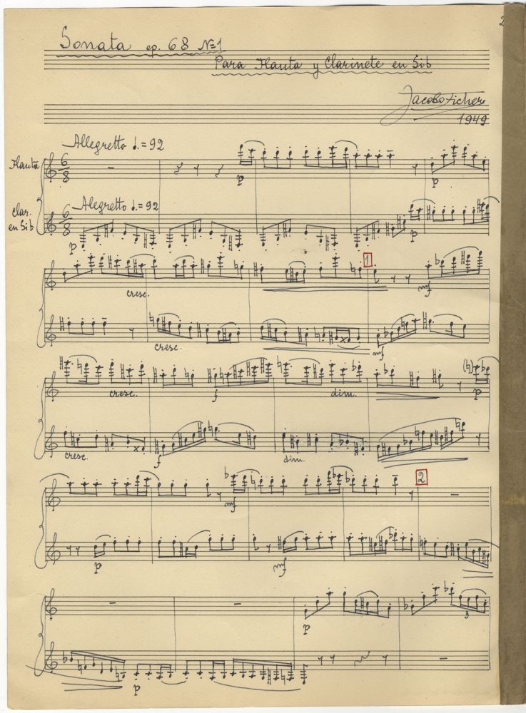 Sonata op. 68 No= 1 Para Flauta y Clarinete en Sib. Autograph musical manuscript signed and dated 1949. The complete work in score. Jacobo FICHER.