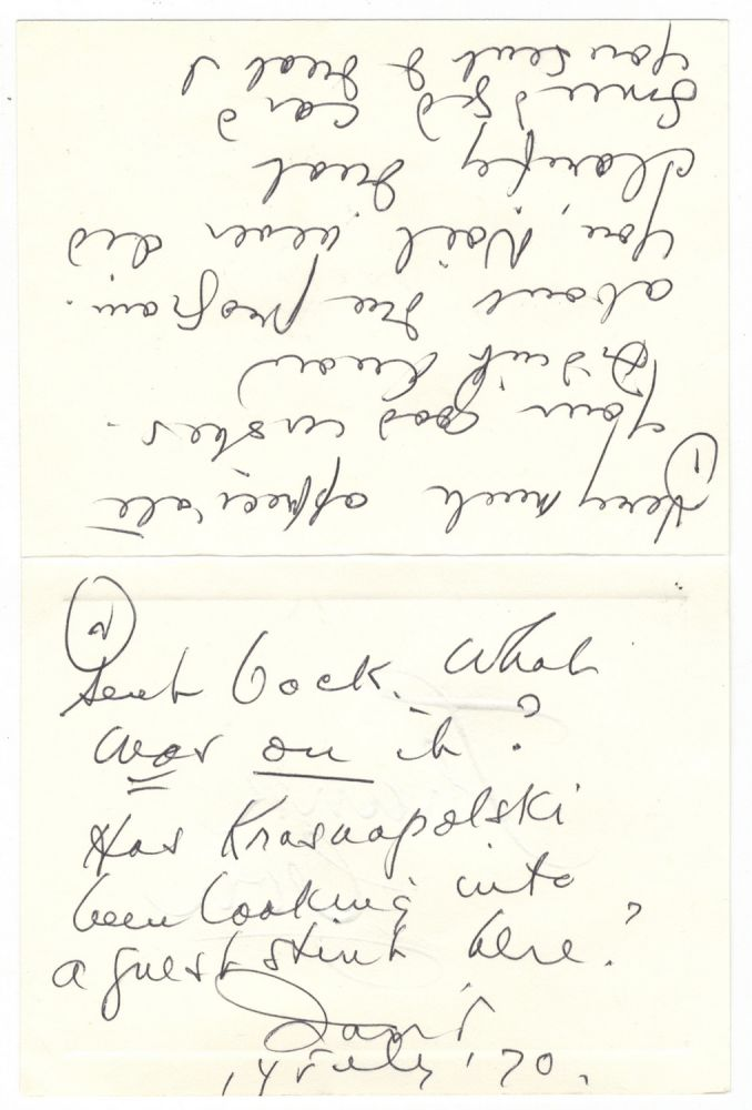 "Autograph note signed ""David"" addressed to Yuri Krasnapolsky, assistant conductor of the New York Philharmonic under Leonard Bernstein, and Noël Ferrand. David DIAMOND."