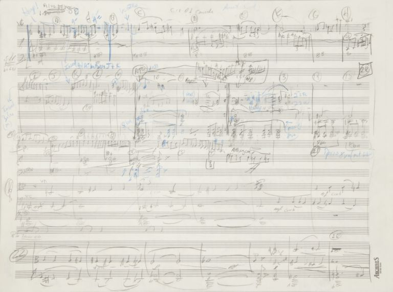 Through the Ancient Valley [Concerto No. 2 for Violoncello Soloist and Orchestra]. 2001. Autograph working musical manuscript score. Richard b. 1956 DANIELPOUR.