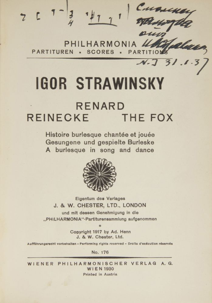 Volume of five works by Stravinsky, one inscribed to the conductor Alexander Smallens in Cyrillic, signed and dated in Stravinsky's hand, and with a short autograph musical quotation. Igor STRAVINSKY.