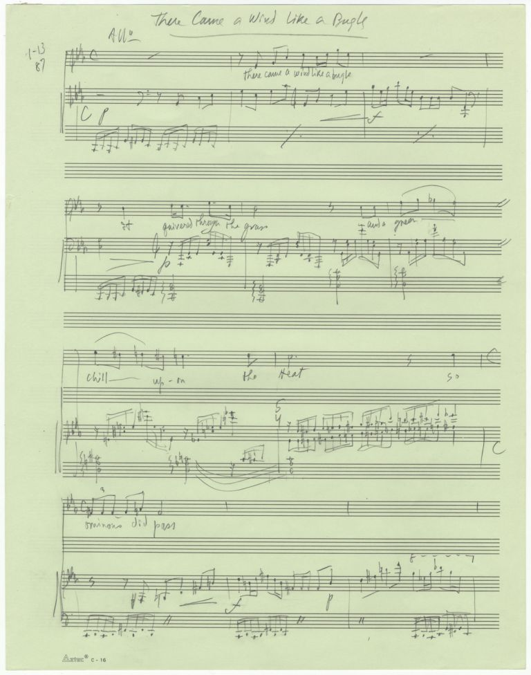 There Came a Wind Like a Bugle. Song for voice and piano. Autograph musical manuscript dated Jan 13, 10, 12, 11, [19]87. Text by Emily Dickinson. Lee HOIBY.