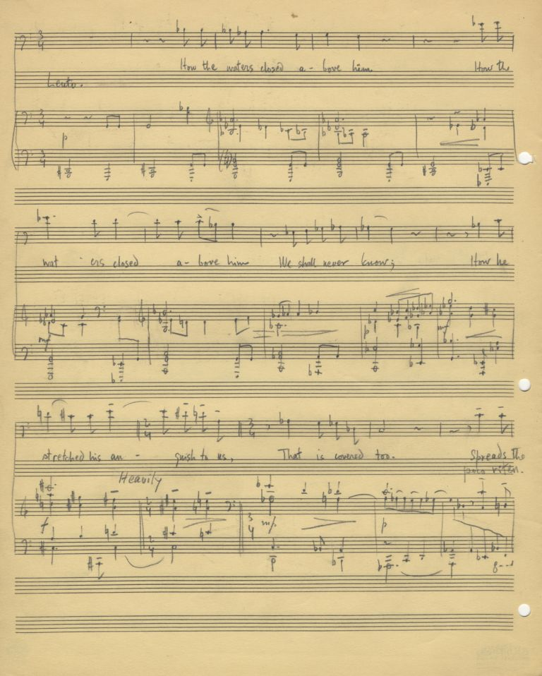 The Drowned Boy. Song for voice and piano. Autograph musical manuscript dated Philadelphia, April 14, 1952 at conclusion. Text by Emily Dickinson. Lee HOIBY.