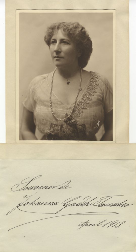 "Fine bust-length Mishkin photograph of the noted German soprano. Together with autograph note on an album leaf: ""Souvenir de Johanna Gadski-Tauscher April 1913."" Johanna GADSKI."