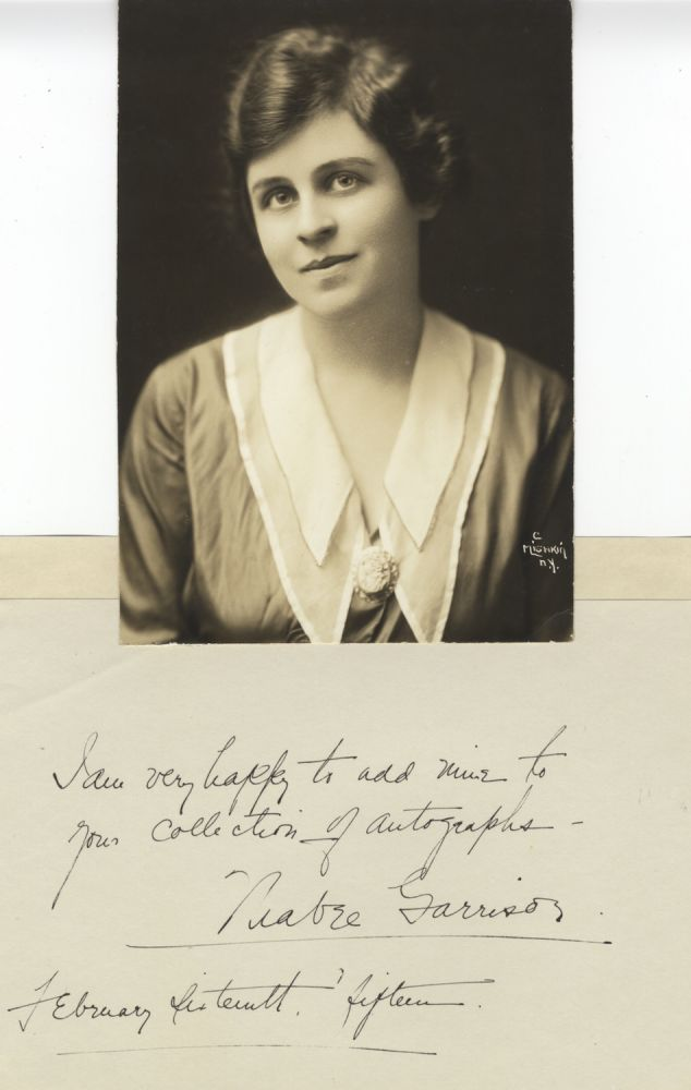 Autograph note signed and dated February 16, 1915, together with a bust-length Mishkin photograph of the American soprano. Mabel GARRISON.
