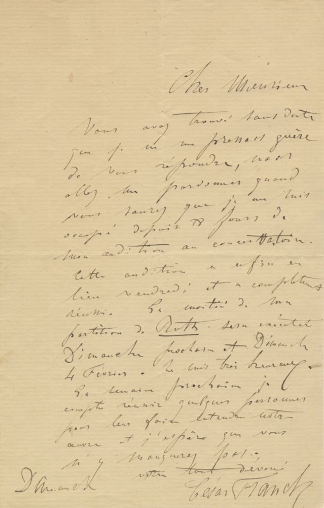 Autograph letter signed in full. To an unidentified male correspondent, possibly Alexandre Gullemin (1789-1872), the librettist of his biblical oratorio Ruth. César FRANCK.
