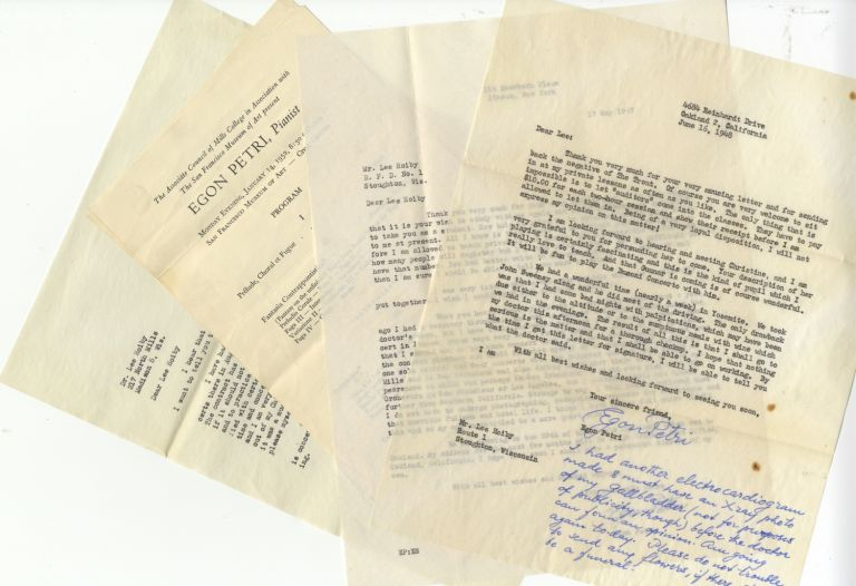 An interesting collection of 34 typed letters signed to American composer Lee Hoiby (1926-2011) written over an 11-year span, with dates ranging from January 10, 1946 to June 24, 1957, many quite detailed, some with autograph additions. Egon PETRI.