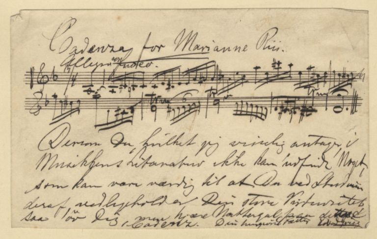 Cadenza for Marianne Riis. Autograph musical manuscript signed. Undated, but ca. 1880-1900. Edvard GRIEG.