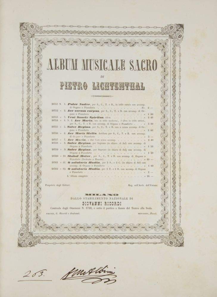 Album Musicale Sacro ... Fr. 24. [Piano-vocal score]. Peter LICHTENTHAL.