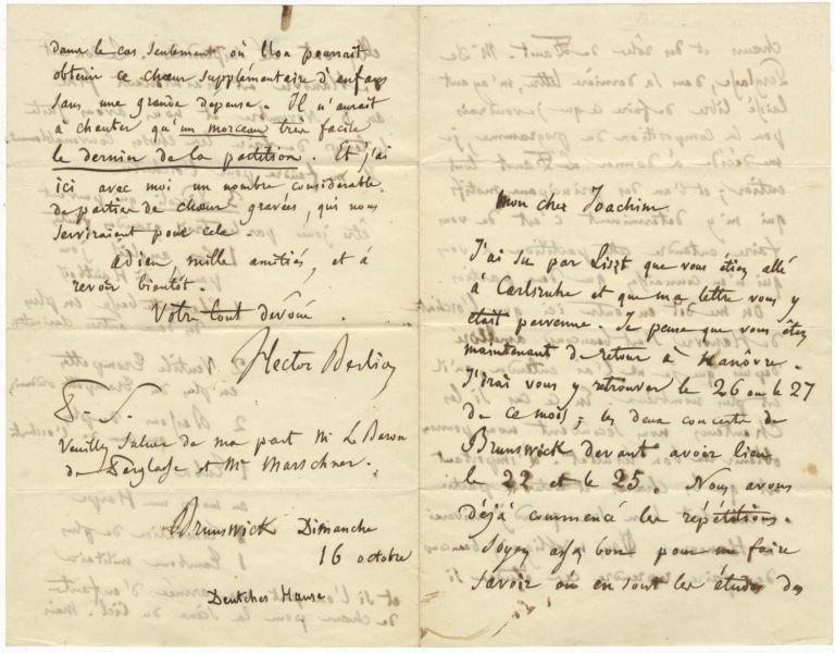 Important autograph letter signed in full to violinist, conductor, and composer Joseph Joachim. Hector BERLIOZ.