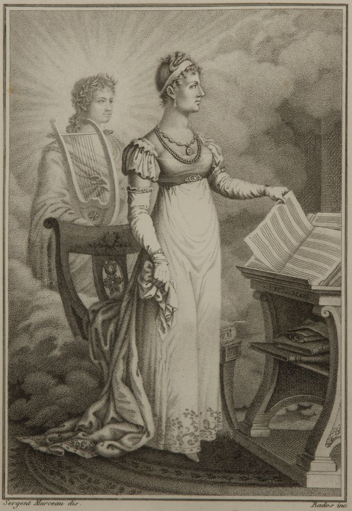 Fine full-length stipple engraving by Rados after Sergent Marceau of the popular early 19th century Italian soprano. Milan, ca. 1818. Angelica CATALANI.