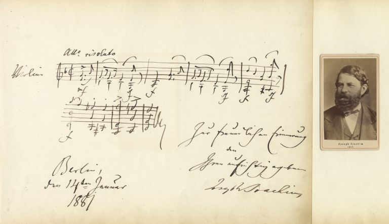 Large autograph musical quotation signed in full and dated Berlin, January 14, 1881. Joseph JOACHIM.