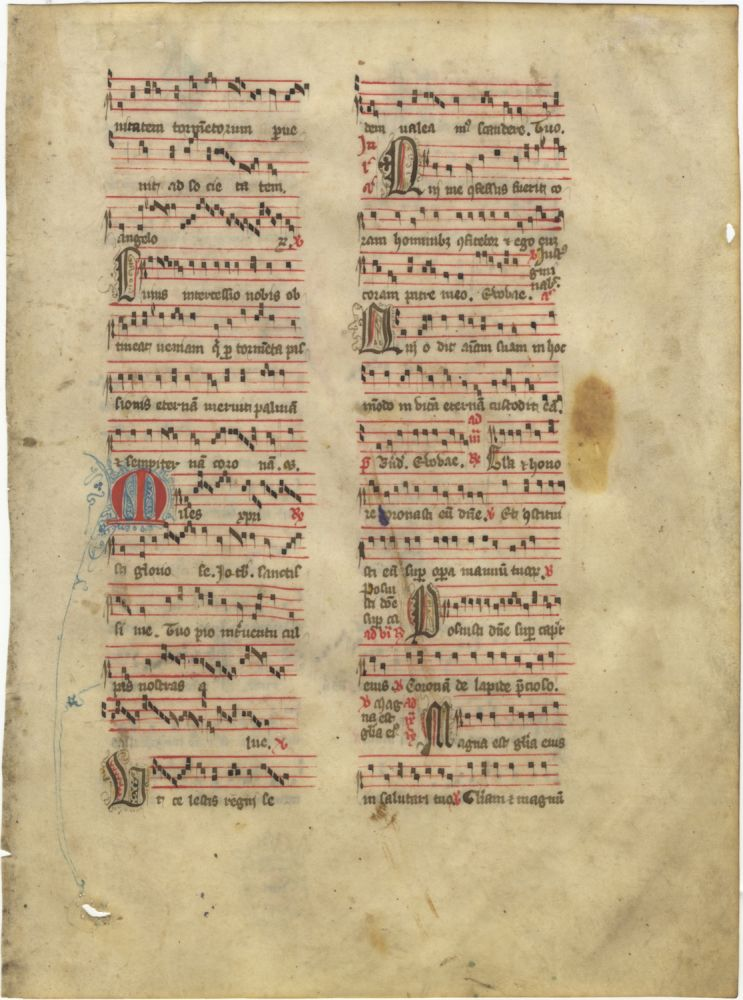 Antiphonal leaf from a Sanctorale containing chants for an unidentified martyr and All Saints' Day. Most probably of French provenance. MEDIEVAL MANUSCRIPT LEAF - 14th Century.