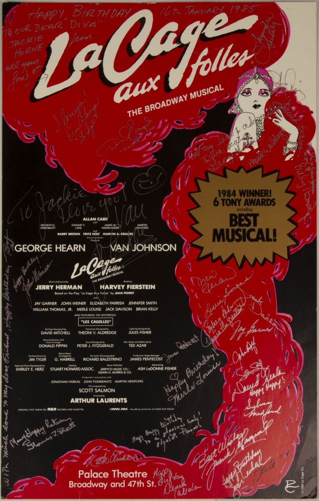 Poster for La Cage aux folles, signed by the cast and crew on the occasion of Marilyn Horne's birthday, January 16, 1985. BROADWAY.