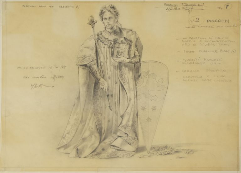 Fine original drawing in pencil of a costume design for the character of Tancredi in Rossini's eponymous opera. Executed for a production in Aix-en-Provence in 1981. Mauro PAGANO.