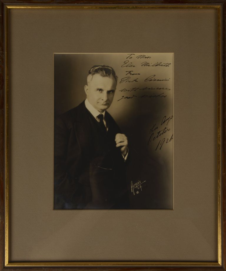 Half-length studio portrait photograph, inscribed and signed in full, dated October 1926. Pietro CIMINI.