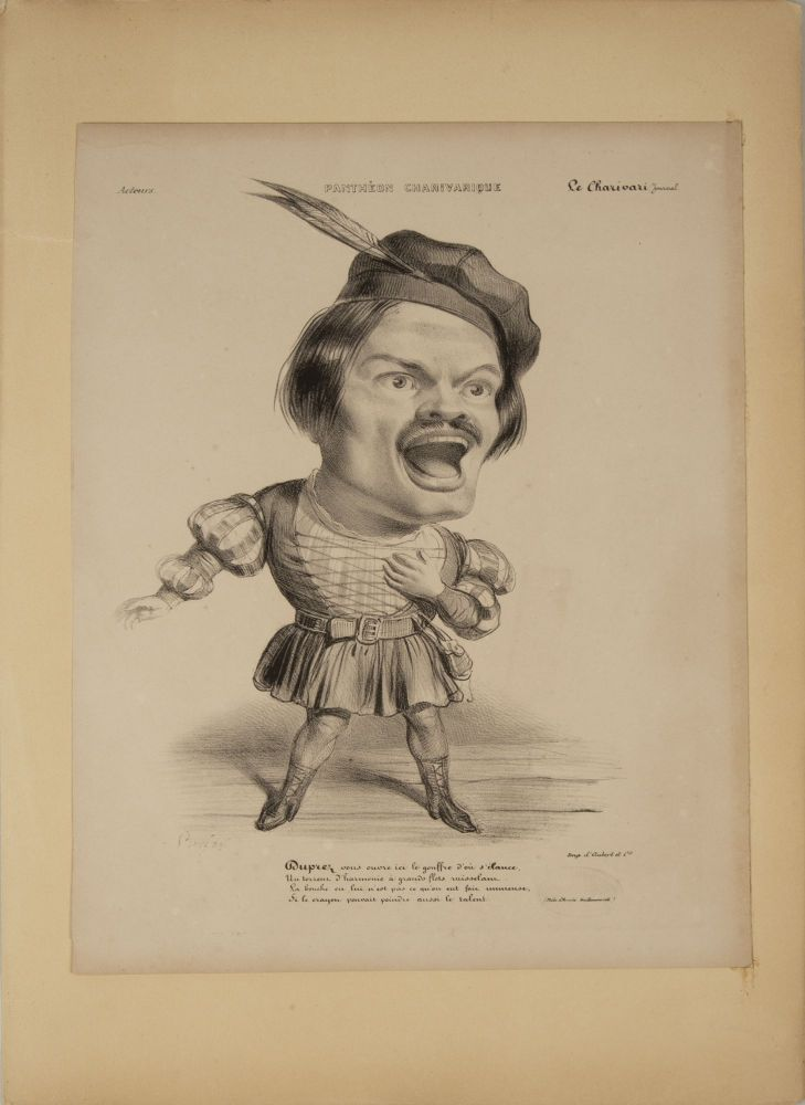 Large role portrait lithographic caricature of Duprez as Arnold in Rossini's Guillaume Tell. Lithograph by Benjamin [Roubaud]. Gilbert DUPREZ.