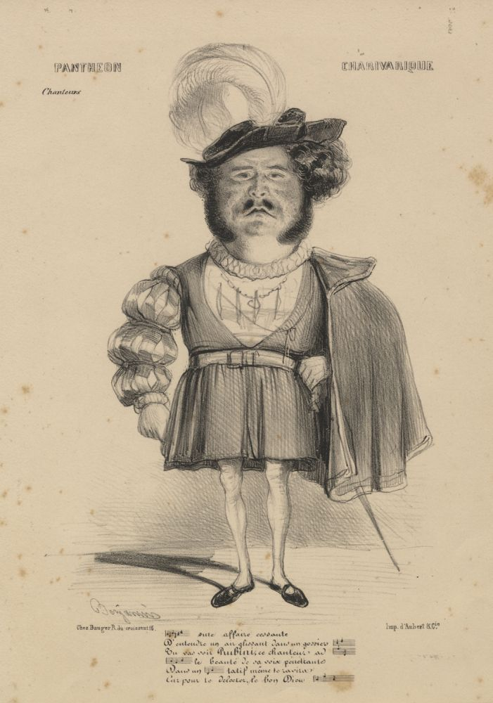 Large role portrait lithographic caricature by Benjamin [Roubaud] as Gualtiero from Bellini's Il pirata. Giovanni Battista RUBINI.