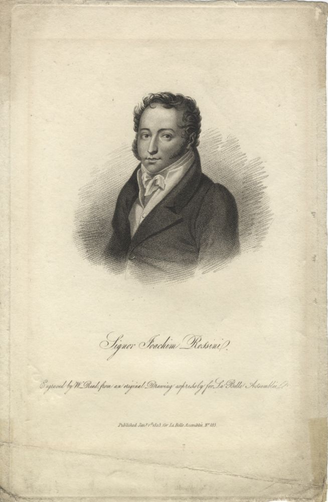 Portrait engraving by W. Read after a drawing by Louis Dupré. Gioachino ROSSINI.