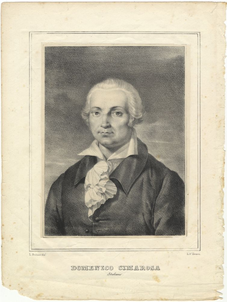 Portrait lithograph by Antonio Zezon after L. Deluise. Domenico CIMAROSA.