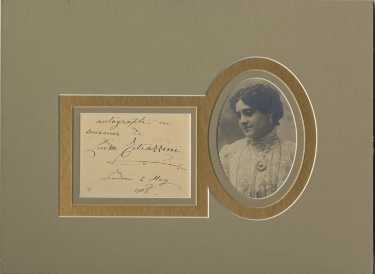 Autograph note signed in full, dated May 2, 1908, together with a silver gelatin bust-length photograph. Luisa TETRAZZINI.