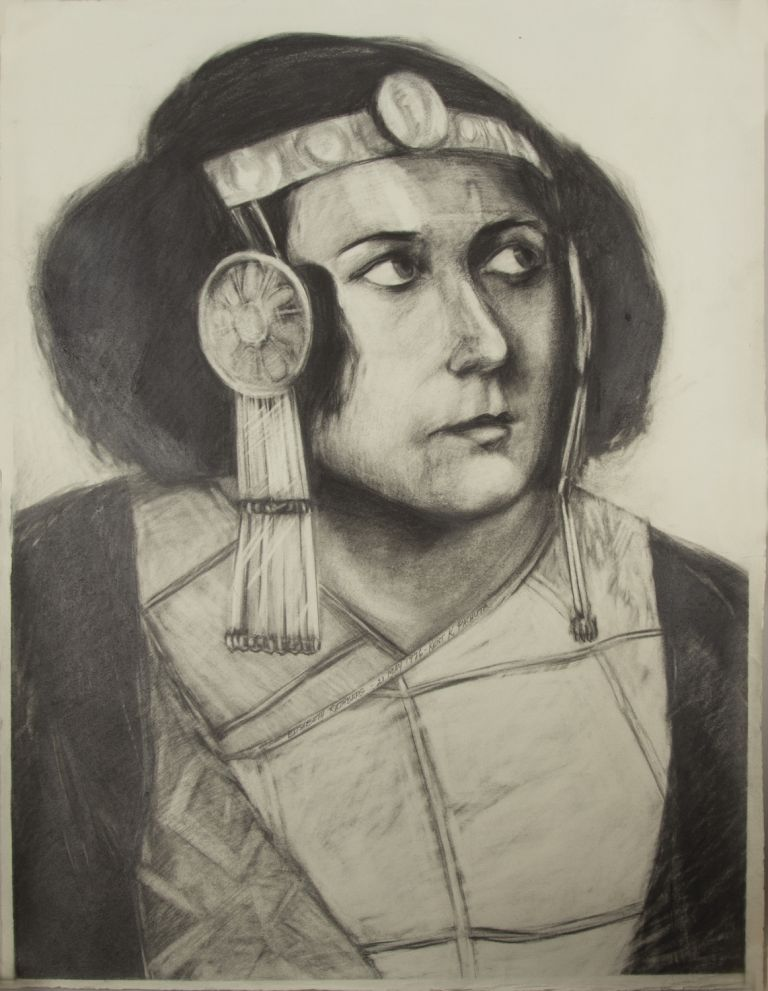 Original charcoal drawing by the American artist Kent K. Pachuta (b. 1953) of Rethberg as Helena in Strauss's Die ägyptische Helena. Signed by the artist and dated 1976. Elisabeth RETHBERG.