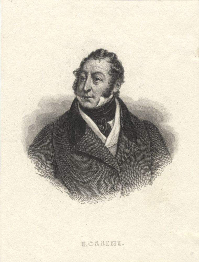 Portrait engraving after the painting by Hortense Haudebourt-Lescot. Gioachino ROSSINI.