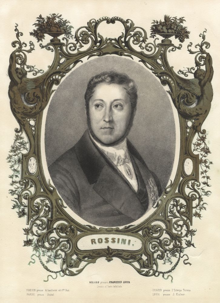 Fine large portrait lithograph after a drawing by Louis Dupré. Gioachino ROSSINI.