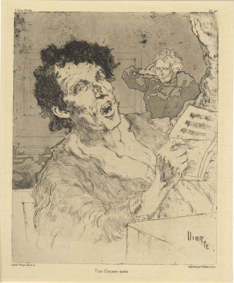 """Une fausse note."" Etching and aquatint engraving. Daniel VIERGE."