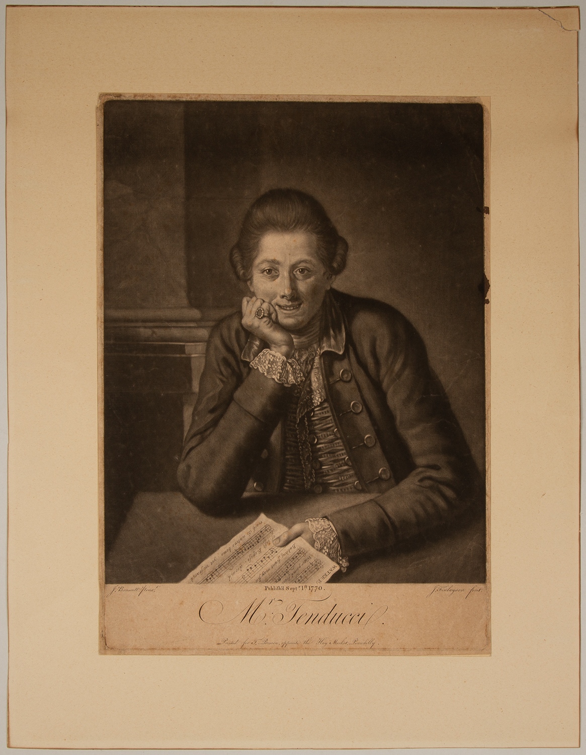 """Mr. Tenducci."" Fine large mezzotint engraving of the noted Italian soprano castrato and composer by J. Finlayson after the painting by J. Bruscett. The singer is depicted seated, holding a sheet of printed music from the ""Water Parted from the Sea."" Giusto Ferdinando TENDUCCI."