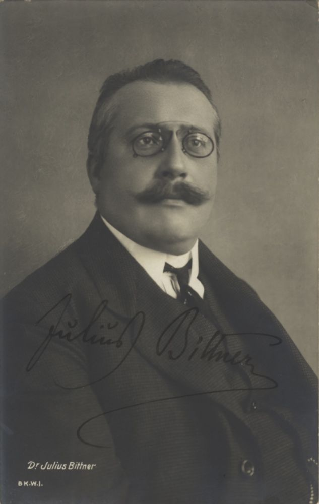 Postcard photograph with autograph signature of the Austrian composer. Addressed to Walter Honig in Vienna. Julius BITTNER.