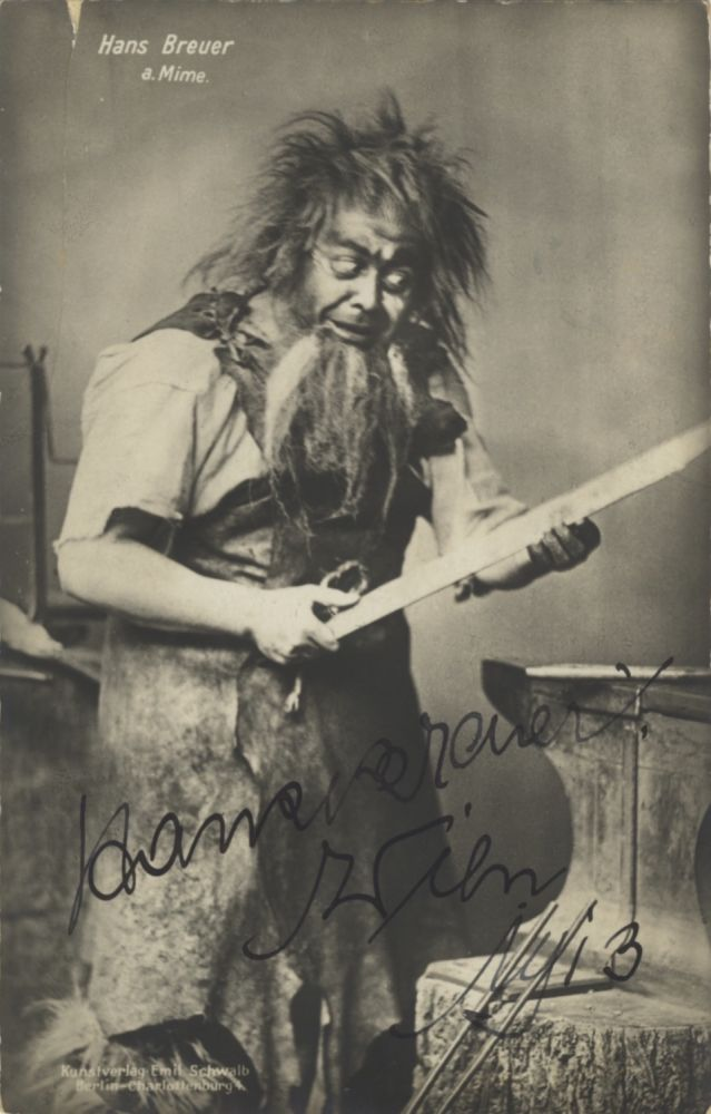 Role portrait postcard photograph with autograph signature of the German tenor as Mime dated 1913. Addressed to Walter Honig in Vienna. Hans BREUER.