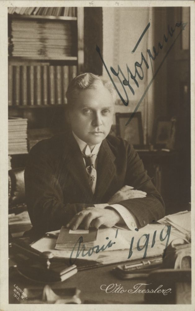 Postcard photograph with autograph signature of the German film actor dated 1919. Addressed to Walter Honig in Vienna. Otto TRESSLER.