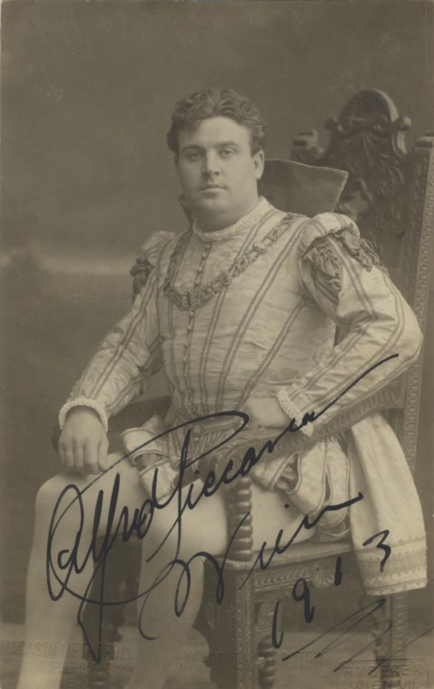 Role portrait postcard photograph with autograph signature of the British-American tenor as the Duke of Mantua in Rigoletto dated Vienna, 1913. Addressed to Walter Honig in Vienna. Alfred PICCAVER.