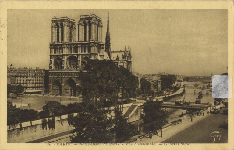 Postcard photograph of Notre Dame Cathedral with autograph signature. Franz LEHÁR.