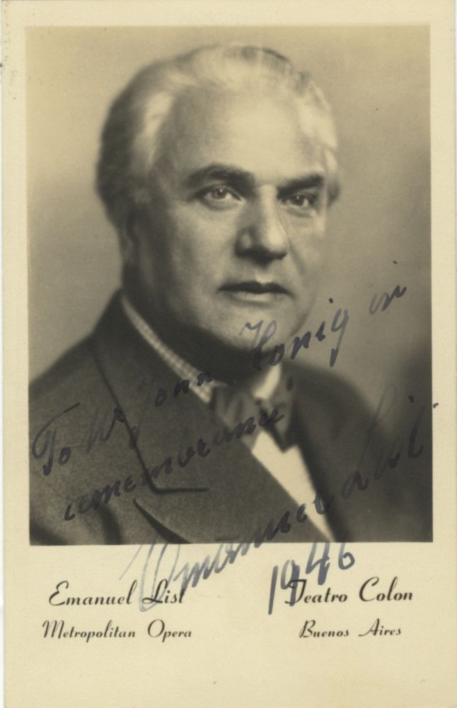 Three postcard photographs with autograph signatures of the noted Austrian bass dated 1946. Emanuel LIST.