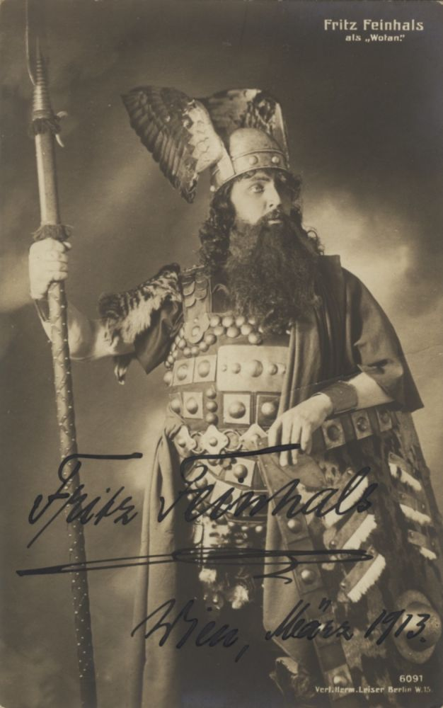 Role portrait postcard photograph with autograph signature of the German baritone as Wotan dated Vienna, March 1913. Addressed to Walter Honig in Vienna. Fritz FEINHALS.