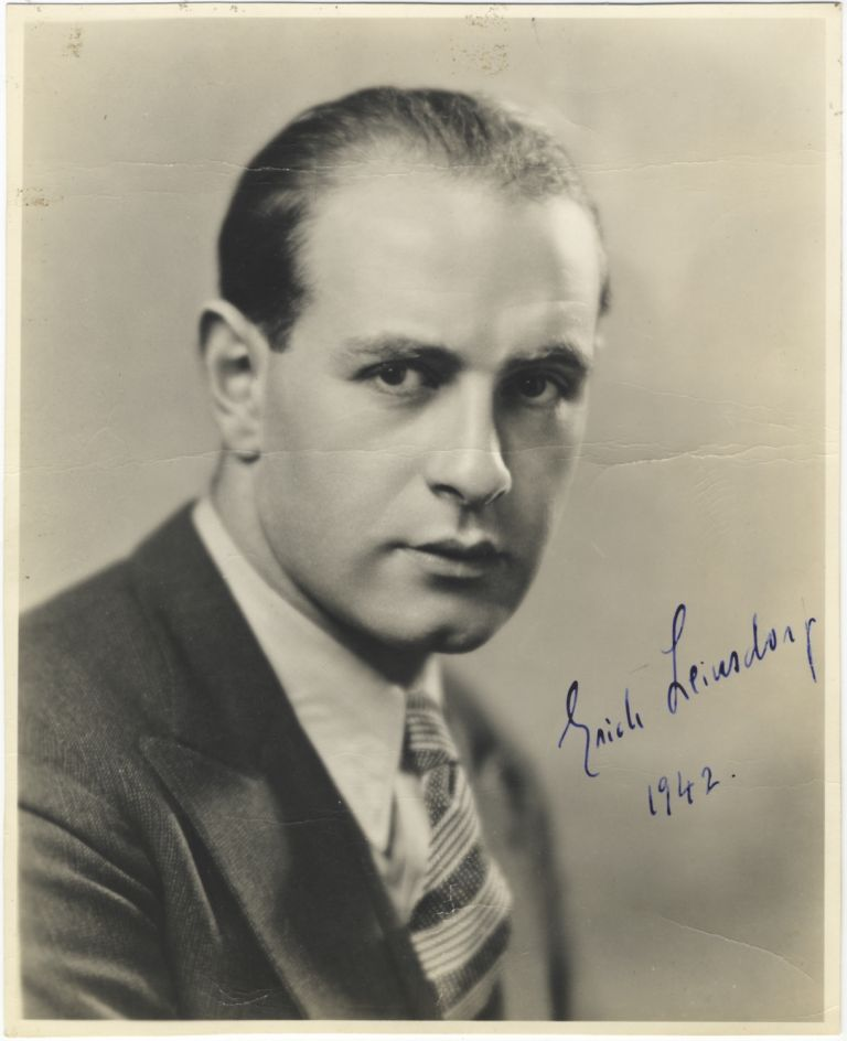 Portrait photograph with autograph signature of the noted Austrian-born American conductor dated 1942. Erich LEINSDORF.