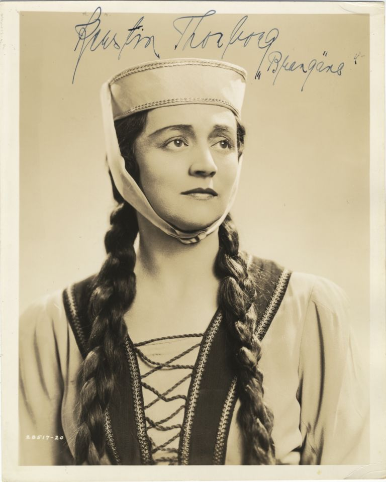 Role portrait photograph with autograph signature of the Swedish mezzo-soprano as Brangäne from Tristan and Isolde. Kerstin THORBORG.
