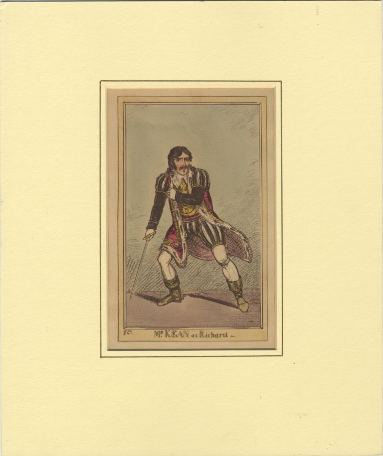 Role portrait as Richard III. Hand-coloured engraving by F.W. Pailthorpe after George Cruikshank. Edmund KEAN.