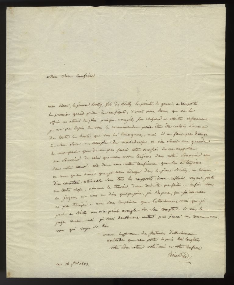 "Autograph letter signed ""Boieldieu"" to Pierre-Narcisse Guérin in Rome, September 18, 1823. Adrien BOIELDIEU."