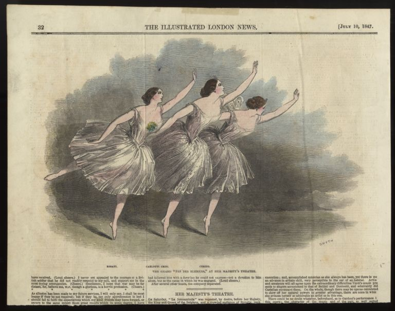"""The Grand """"Pas des Elemens"""" at Her Majesty's Theatre. Hand-colored steel engraving by Smyth of Grisi, Rosati, and Cerito. BALLET - 19th Century."""