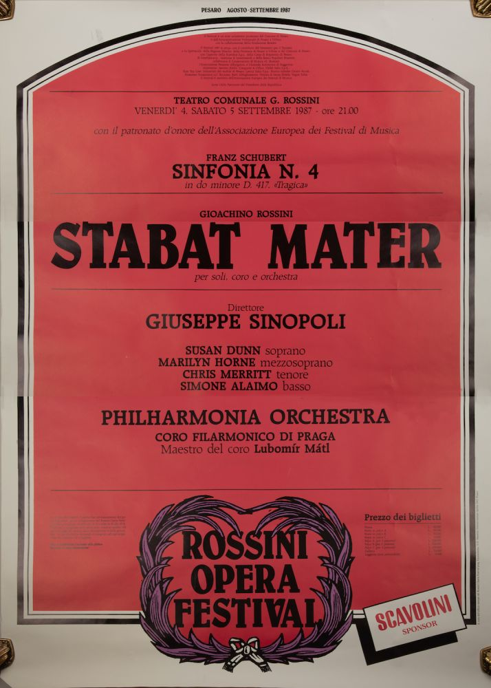 Large poster for Rossini's Stabat Mater performed at the Rossini Opera Festival in Pesaro, August-September 1987, with Marilyn Horne, Susan Dunn, Chris Merritt, and Simone Alaimo. Gioachino ROSSINI.
