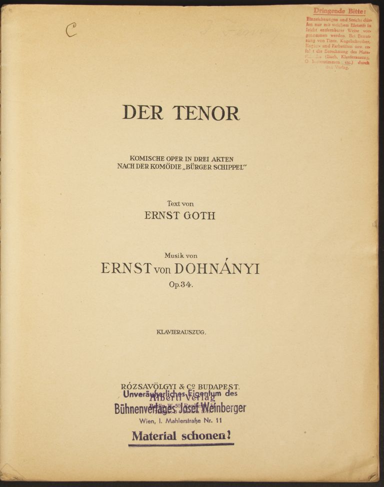 Der Tenor. [Piano-vocal score]. Ernő DOHNÁNYI.
