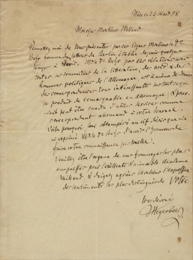 "Autograph letter signed ""Meyerbeer' to German publisher Moïse Millaud (1813-1871). Giacomo MEYERBEER."