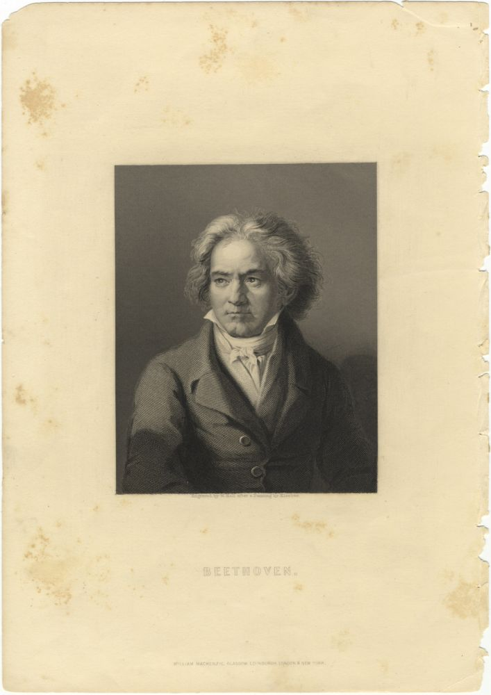 Portrait engraving by W. Hall after a painting by Kloeber. Ludwig van BEETHOVEN.