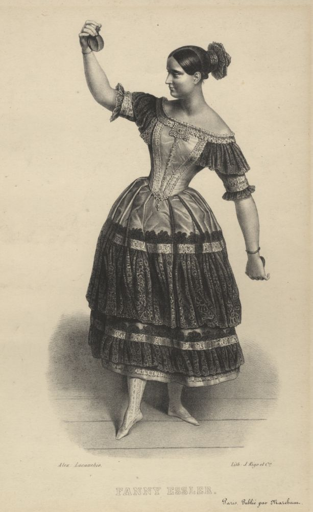 Full-length lithograph of Elssler by Alexandre Lacauchie in the role of Florinda in the ballet Le Diable Boiteux. Fanny ELSSLER.