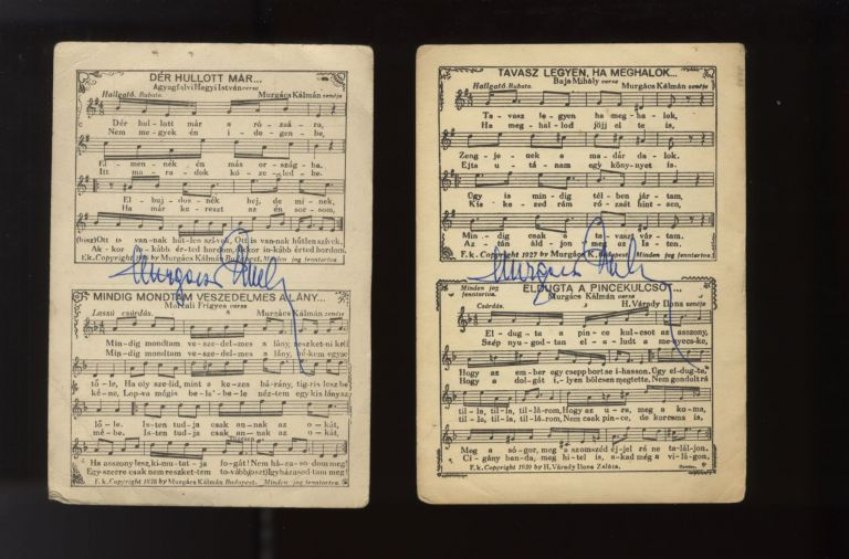 Two postcards with printed music, both with autograph signatures in blue ink. Kálmán MURGÁCS.