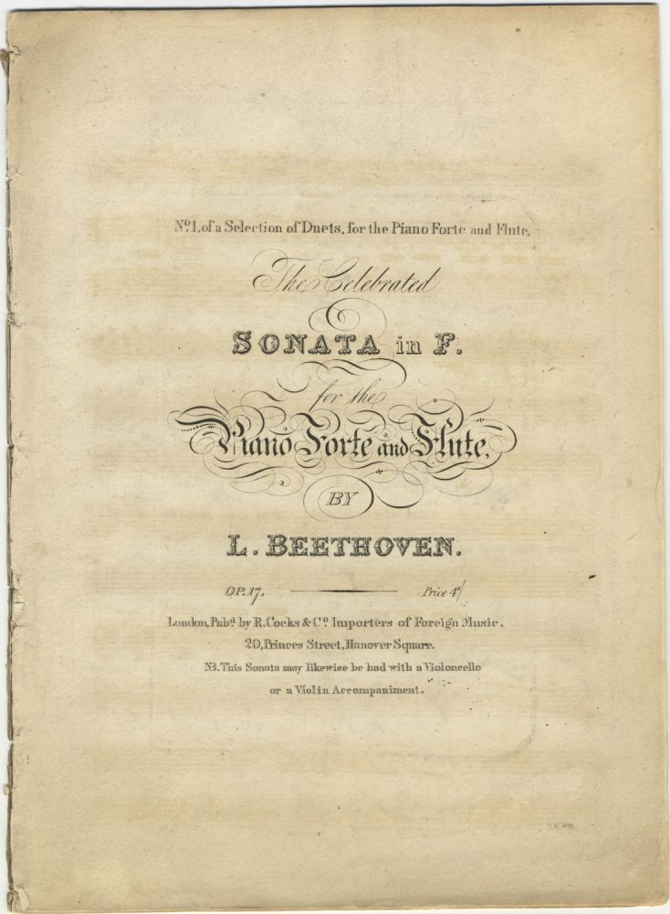 [Op. 17]. The Celebrated Sonata in F [piano part only]. Ludwig van BEETHOVEN.
